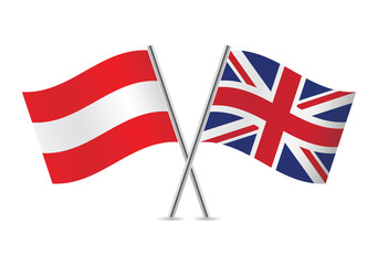 Austrian and British flags. Vector illustration.