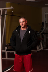 Portrait Of Caucasian Muscle Man In Hoody