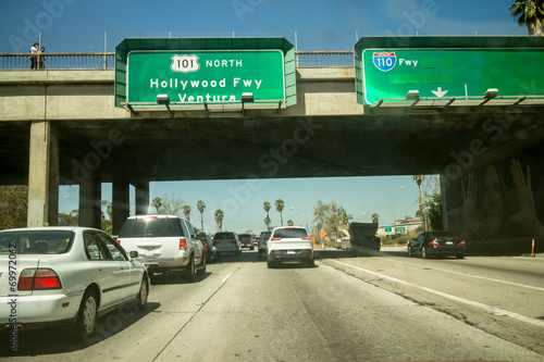 Poster Car traffic Hollywood 101 freeway Los Angeles POV perspective.