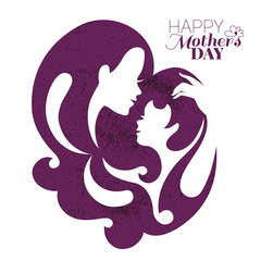 Card of Happy Mother's Day. Beautiful mother silhouette