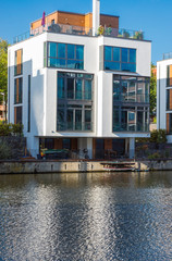 Modern house at the waterside in Hamburg, Germany