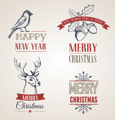 Christmas vintage concept with typography and ribbons