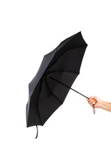 Modern black umbrella in hand.