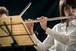 Professional flutist on stage