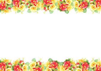 foliate border with roses blossom Illustation