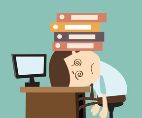 Hard work concept - businessman with his head heavy file