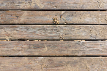 Weathered Wooden Boardwalk on Sand