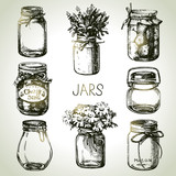 Fototapety Rustic, mason and canning jars hand drawn set. Sketch design