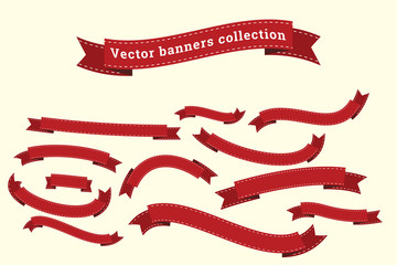 Ribbon banners vector collection templates for design work