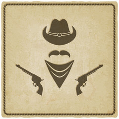 cowboy hat and gun old background