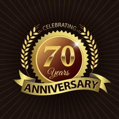 Celebrating 70 Years Anniversary - Laurel Wreath Seal & Ribbon