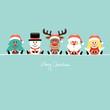 Tree, Snowman, Rudolph, Santa & Angel Gift Retro