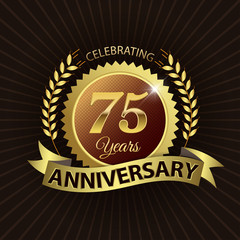 Celebrating 75 Years Anniversary - Laurel Wreath Seal & Ribbon
