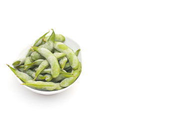 Frozen boiled soybeans in the pod Edamame