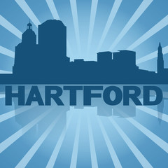 Hartford skyline reflected with blue sunburst illustration