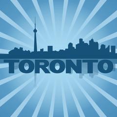 Toronto skyline reflected with blue sunburst illustration
