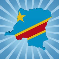 Democratic Republic of Congo map flag sunburst illustration