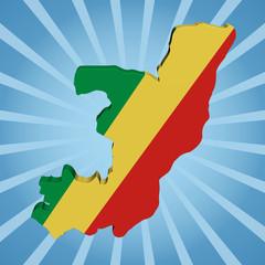 Republic of Congo map flag on blue sunburst illustration
