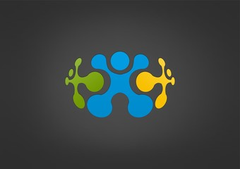 business teamwork creative logo abstract partnership icon