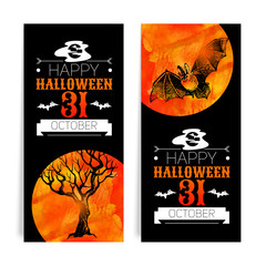 Set of Halloween banners. Typographic poster. Hand drawn sketch