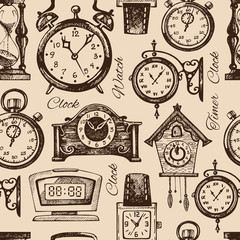 Hand drawn clocks and watches. Vintage hand drawn sketch