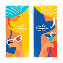 Set of summer banners with beautiful women silhouettes.
