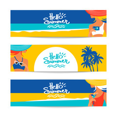 Set of summer banners with beautiful women silhouettes