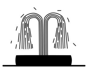 Fountain silhouette black and white illustration