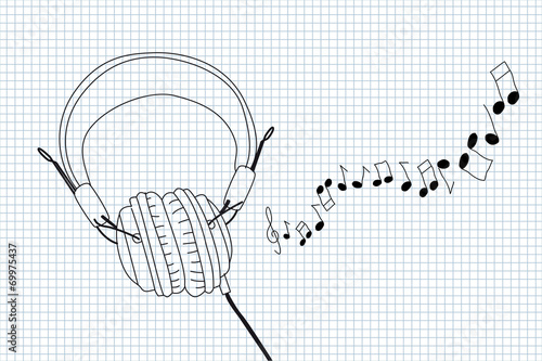 Stylish headphones with cable and notes illustration © Lovunka