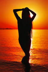 Silhouette of young lady