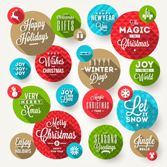 Set of frames with Christmas greeting, phrases and flat icons