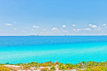 tropical sea and Cancun coastline, Mexico