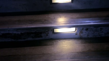 Modern staircase, illuminated at night