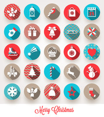 Set of Christmas flat icons with long shadows