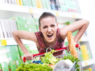 Angry customer at supermarket
