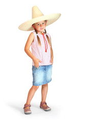 Little girl with mexican sombrero.