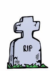 doodle tombstone with RIP