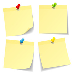 4 Yellow Stick Notes Colored Pins