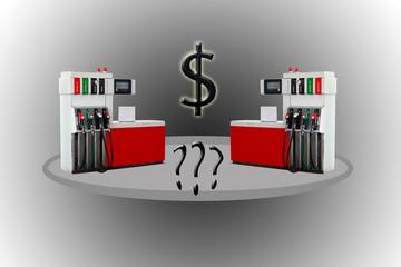 Fuel, petrol dispenser, pump, handles and pillars