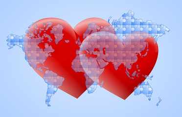 mapa puzzle i dwa czerwone serca