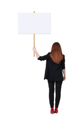 Back view business woman showing sign board.