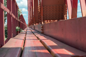red painted bridge floor