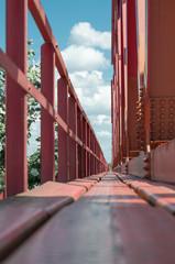 red painted bridge floor