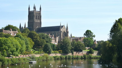 Worcester Cathedral by the River Severn in the English Midlands.