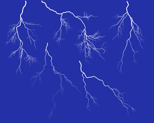 group of five white lightnings on blue