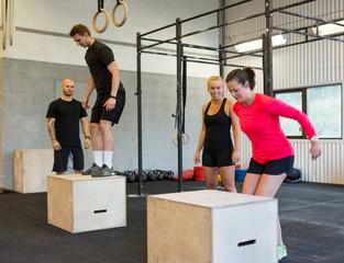 Athletes Box Jumping