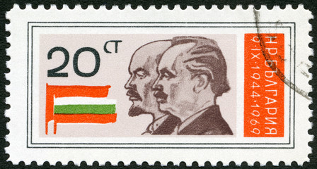 BULGARIA - 1969: Lenin, Dimitrov, Russian and Bulgarian flags