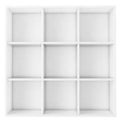 empty white shelf isolated on white background