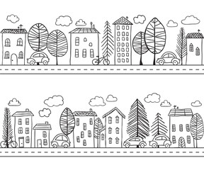 Houses doodles seamless pattern
