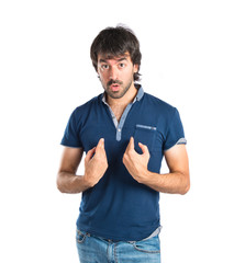 Man having doubts over isolated white background